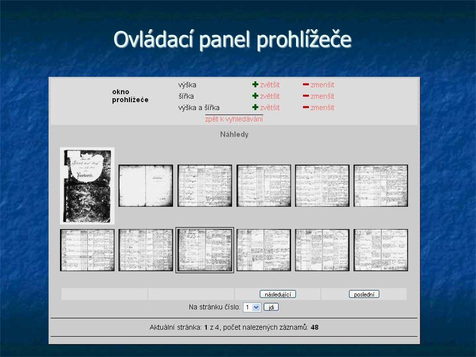 Ovládací panel prohlížeče