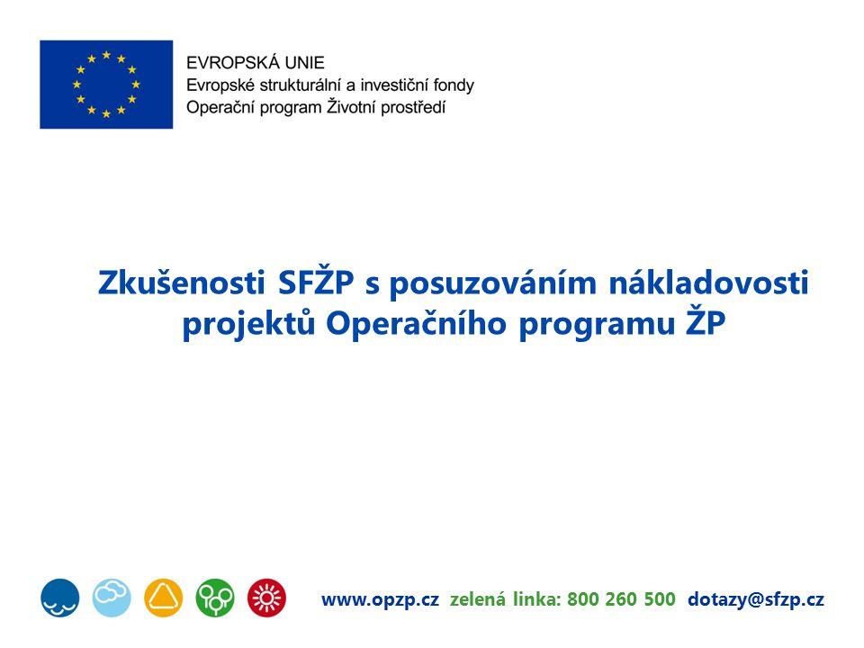 www.opzp.cz zelená linka: 800 260 500 dotazy@sfzp.cz Zkušenosti SFŽP s posuzováním nákladovosti projektů Operačního programu ŽP
