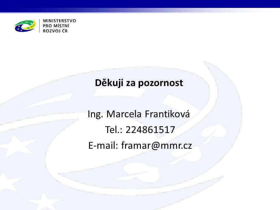 Děkuji za pozornost Ing. Marcela Frantiková Tel.: 224861517 E-mail: framar@mmr.cz