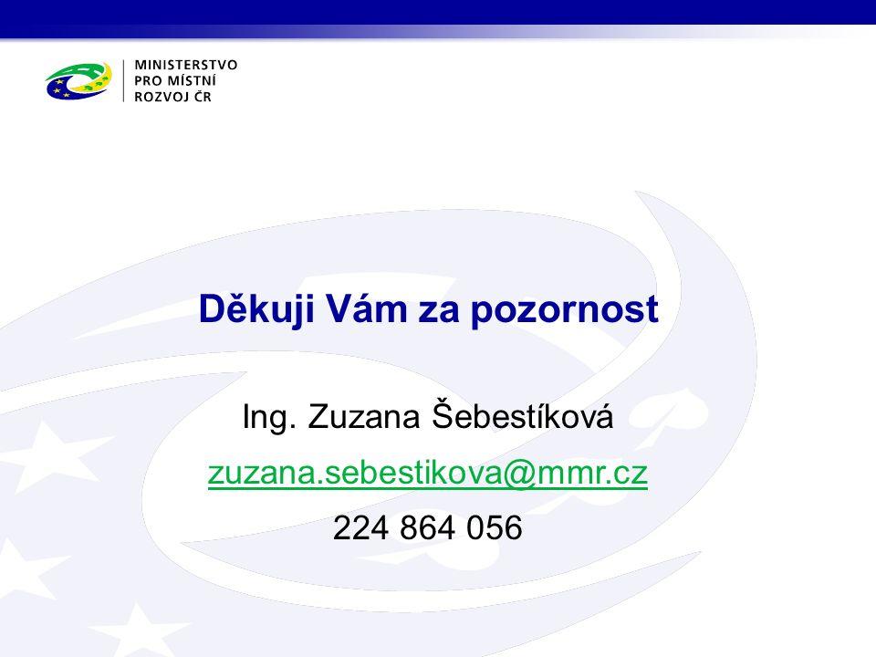 Ing. Zuzana Šebestíková zuzana.sebestikova@mmr.cz 224 864 056 Děkuji Vám za pozornost