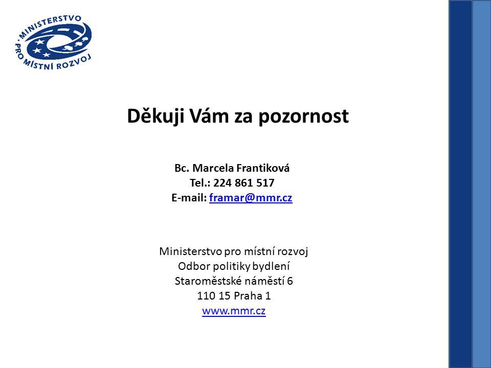 Bc. Marcela Frantiková Tel.: 224 861 517 E-mail: framar@mmr.czframar@mmr.cz Děkuji Vám za pozornost Ministerstvo pro místní rozvoj Odbor politiky bydl