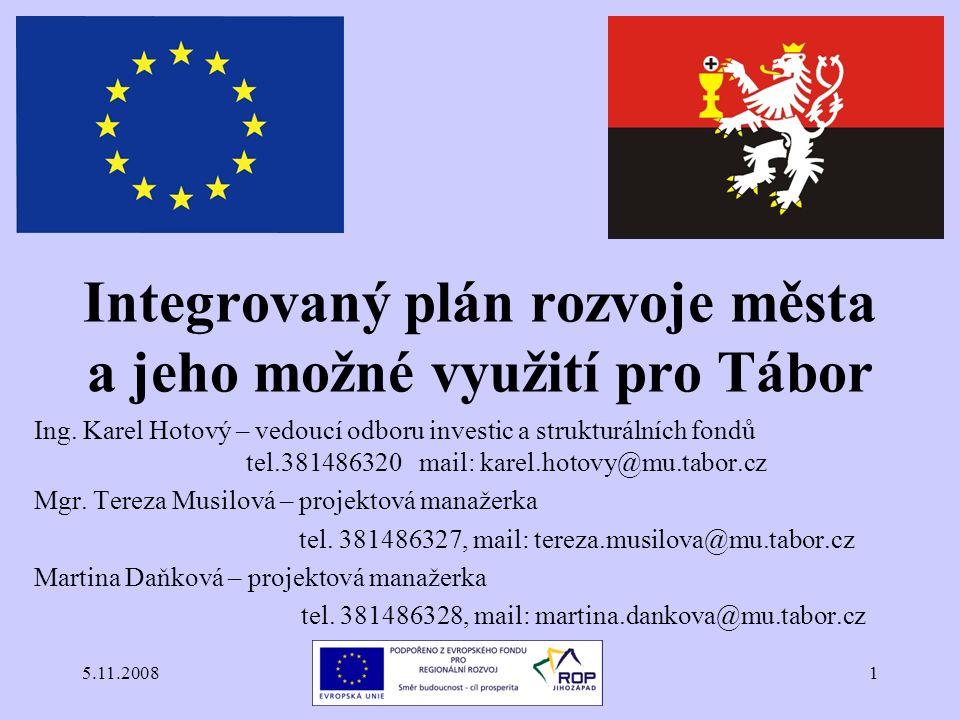 5.11.20081 Integrovaný plán rozvoje města a jeho možné využití pro Tábor Ing.