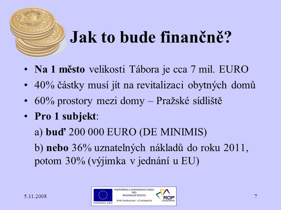 5.11.20087 Jak to bude finančně? Na 1 město velikosti Tábora je cca 7 mil. EURO 40% částky musí jít na revitalizaci obytných domů 60% prostory mezi do