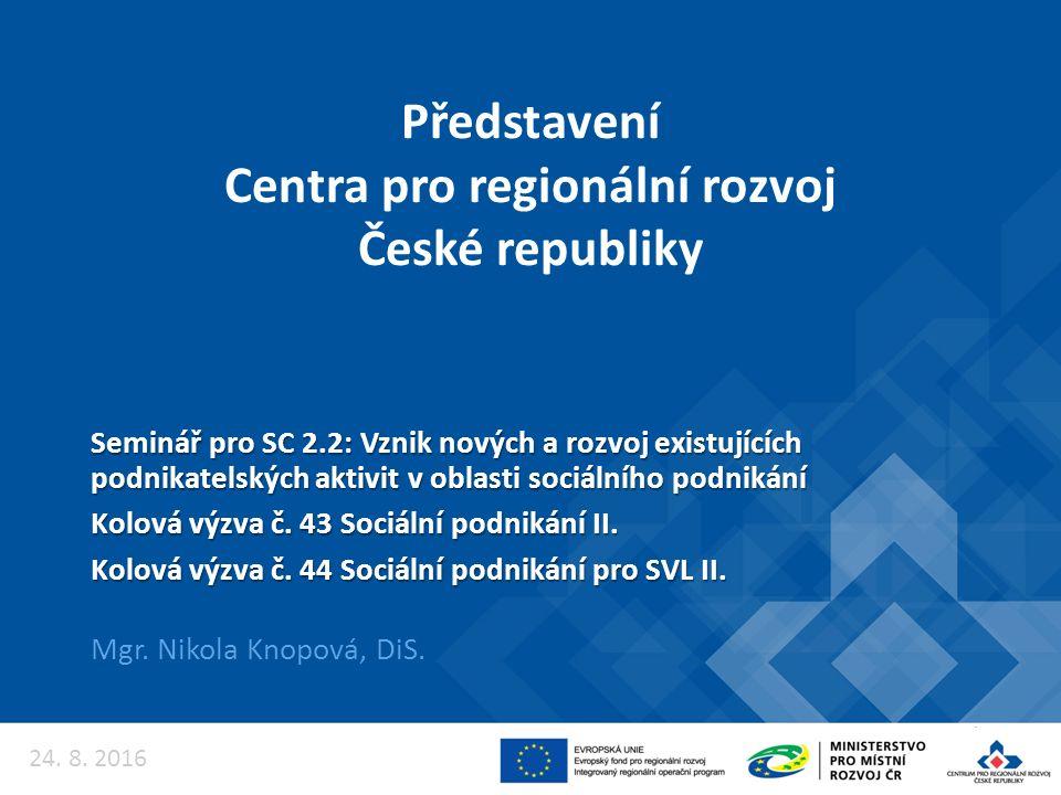 Představení Centra pro regionální rozvoj České republiky Mgr. Nikola Knopová, DiS. Seminář pro SC 2.2: Vznik nových a rozvoj existujících podnikatelsk
