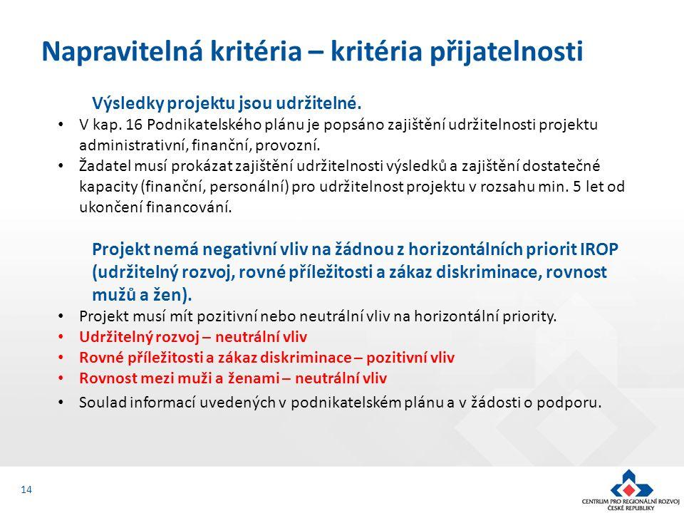 Výsledky projektu jsou udržitelné. V kap. 16 Podnikatelského plánu je popsáno zajištění udržitelnosti projektu administrativní, finanční, provozní. Ža