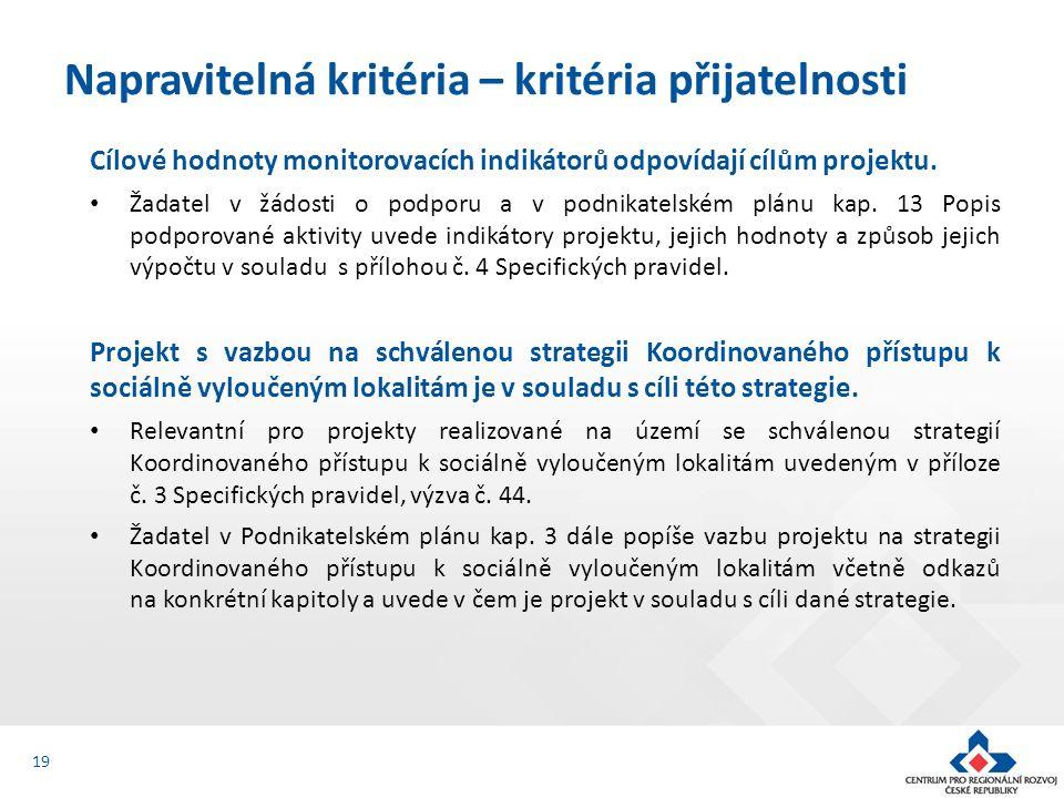 Cílové hodnoty monitorovacích indikátorů odpovídají cílům projektu.