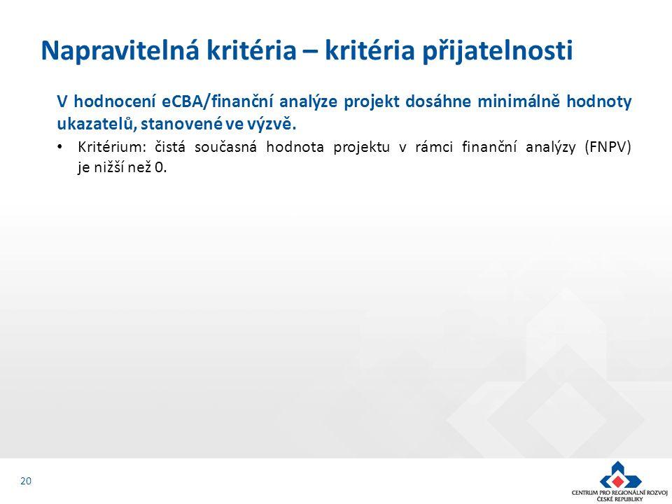 V hodnocení eCBA/finanční analýze projekt dosáhne minimálně hodnoty ukazatelů, stanovené ve výzvě. Kritérium: čistá současná hodnota projektu v rámci