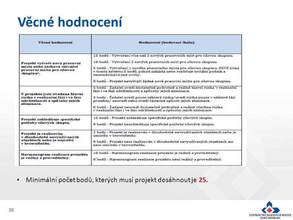 Věcné hodnocení 30 Minimální počet bodů, kterých musí projekt dosáhnout je 25.