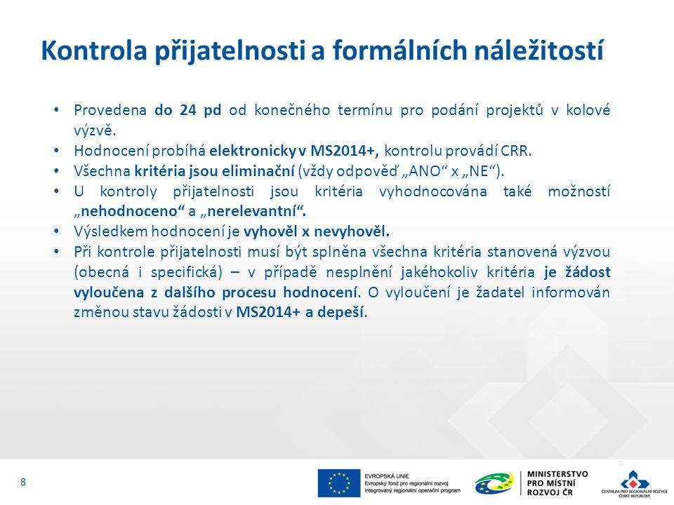 Provedena do 24 pd od konečného termínu pro podání projektů v kolové výzvě. Hodnocení probíhá elektronicky v MS2014+, kontrolu provádí CRR. Všechna kr