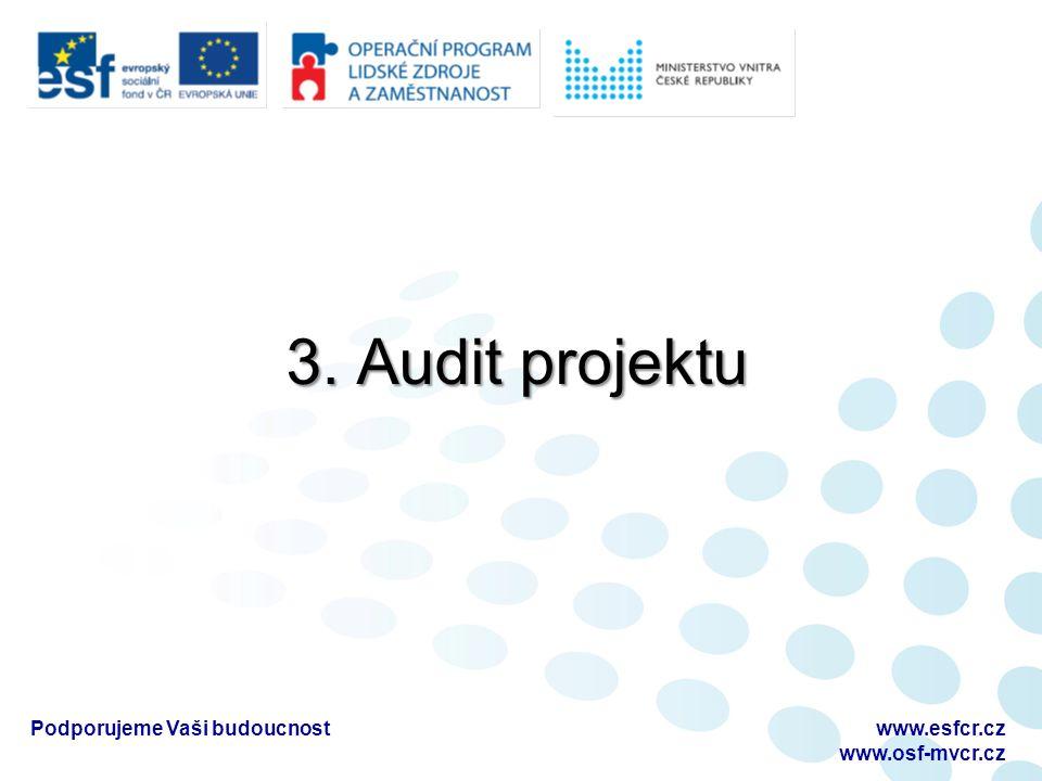 3. Audit projektu Podporujeme Vaši budoucnostwww.esfcr.cz www.osf-mvcr.cz