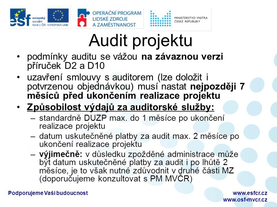 Audit projektu podmínky auditu se vážou na závaznou verzi příruček D2 a D10 uzavření smlouvy s auditorem (lze doložit i potvrzenou objednávkou) musí nastat nejpozději 7 měsíců před ukončením realizace projektu Způsobilost výdajů za auditorské služby: –standardně DUZP max.
