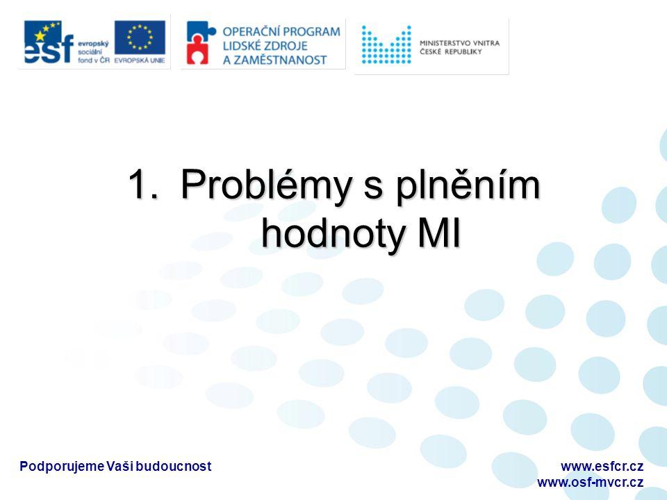 1.Problémy s plněním hodnoty MI Podporujeme Vaši budoucnostwww.esfcr.cz www.osf-mvcr.cz