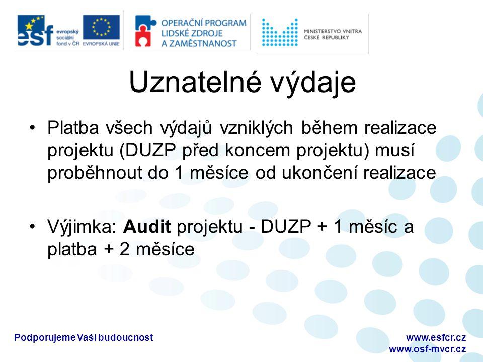 Uznatelné výdaje Platba všech výdajů vzniklých během realizace projektu (DUZP před koncem projektu) musí proběhnout do 1 měsíce od ukončení realizace Výjimka: Audit projektu - DUZP + 1 měsíc a platba + 2 měsíce Podporujeme Vaši budoucnostwww.esfcr.cz www.osf-mvcr.cz
