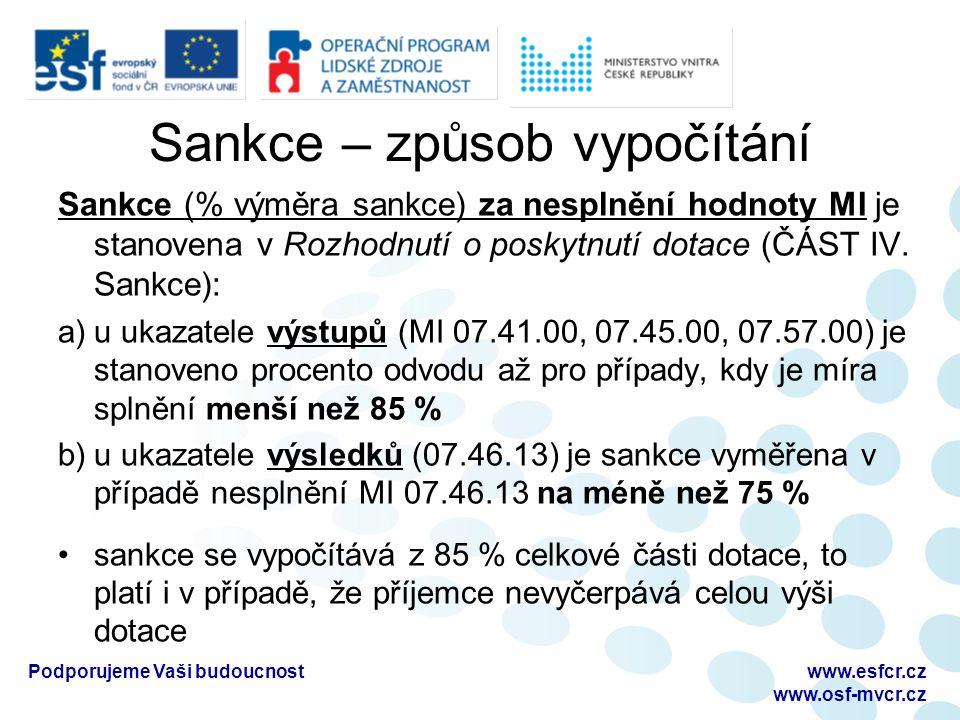 Sankce – způsob vypočítání Sankce (% výměra sankce) za nesplnění hodnoty MI je stanovena v Rozhodnutí o poskytnutí dotace (ČÁST IV.