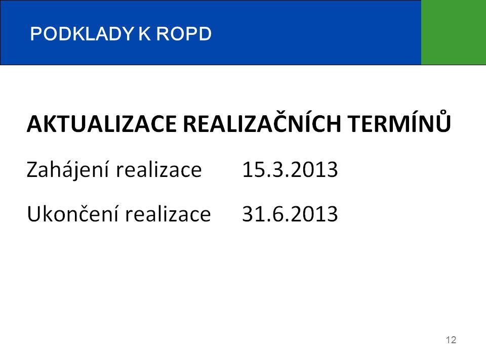 PODKLADY K ROPD  Aktuální prohlášení o plátcovství DPH  Aktualizace realizačních termínů 12