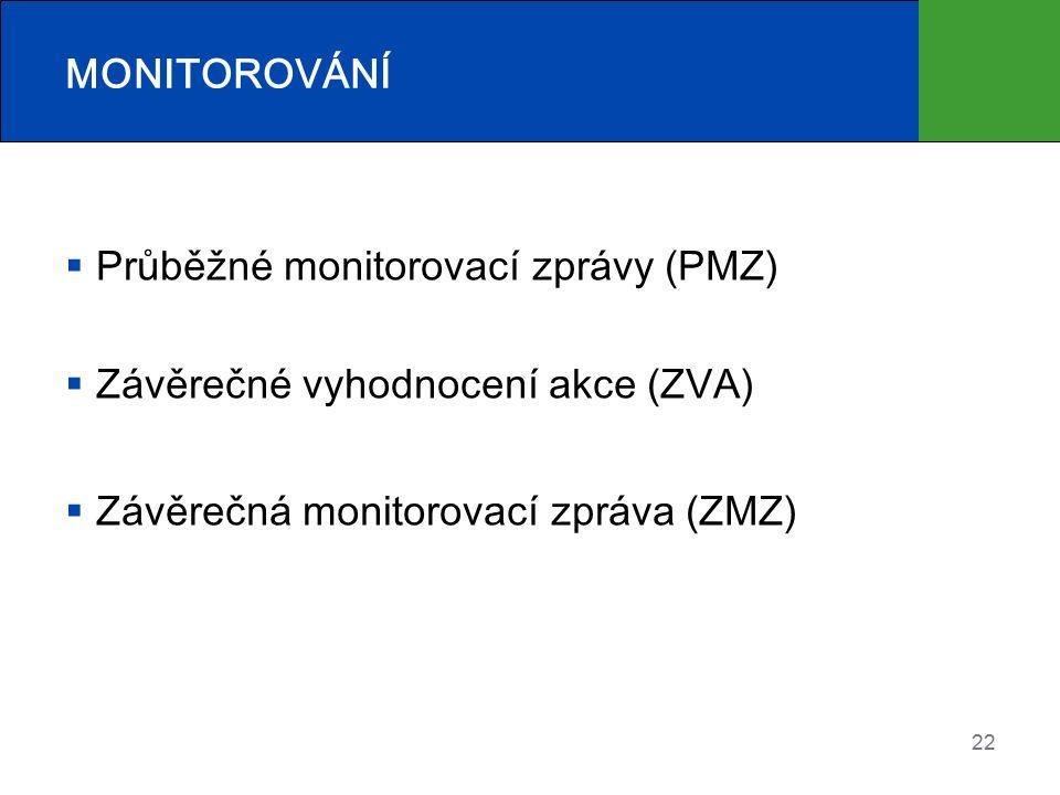 MONITOROVÁNÍ  Průběžné monitorovací zprávy (PMZ)  Závěrečné vyhodnocení akce (ZVA)  Závěrečná monitorovací zpráva (ZMZ) 22