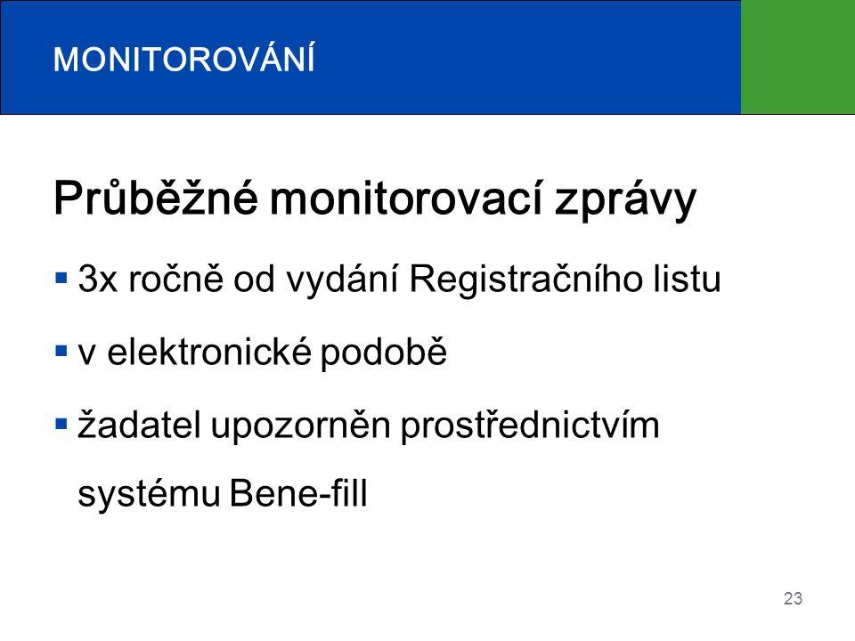 23 MONITOROVÁNÍ Průběžné monitorovací zprávy  3x ročně od vydání Registračního listu  v elektronické podobě  žadatel upozorněn prostřednictvím systému Bene-fill