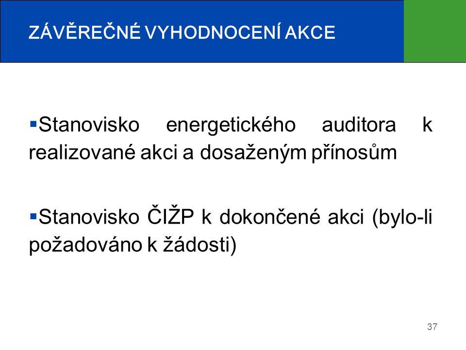  Stanovisko energetického auditora k realizované akci a dosaženým přínosům  Stanovisko ČIŽP k dokončené akci (bylo-li požadováno k žádosti) 37 ZÁVĚREČNÉ VYHODNOCENÍ AKCE