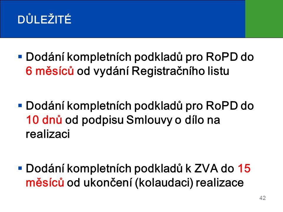 DŮLEŽITÉ  Dodání kompletních podkladů pro RoPD do 6 měsíců od vydání Registračního listu  Dodání kompletních podkladů pro RoPD do 10 dnů od podpisu Smlouvy o dílo na realizaci  Dodání kompletních podkladů k ZVA do 15 měsíců od ukončení (kolaudaci) realizace 42