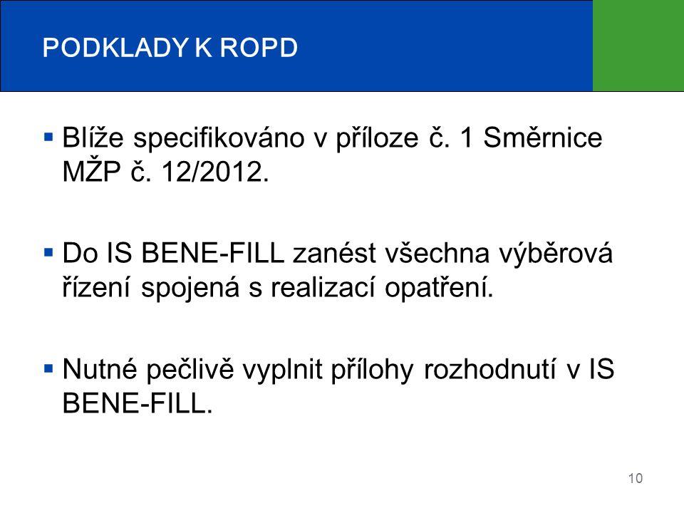 PODKLADY K ROPD  Blíže specifikováno v příloze č.