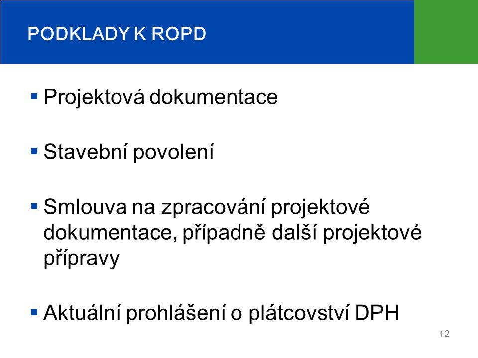 12 PODKLADY K ROPD  Projektová dokumentace  Stavební povolení  Smlouva na zpracování projektové dokumentace, případně další projektové přípravy  Aktuální prohlášení o plátcovství DPH