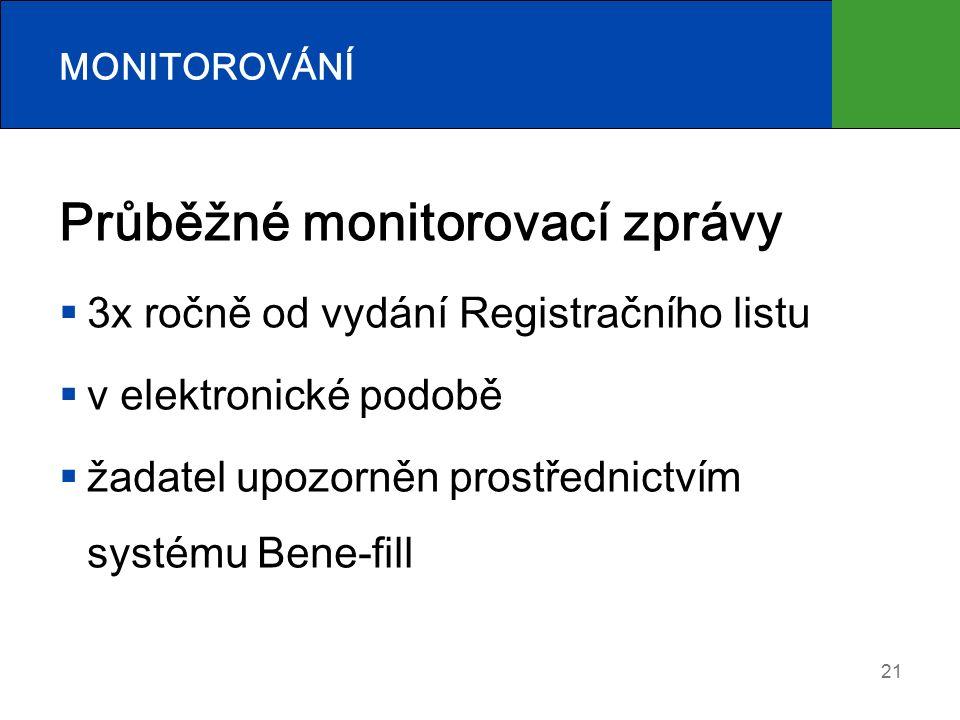21 MONITOROVÁNÍ Průběžné monitorovací zprávy  3x ročně od vydání Registračního listu  v elektronické podobě  žadatel upozorněn prostřednictvím systému Bene-fill