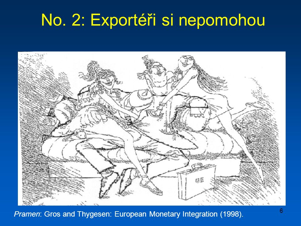 6 No. 2: Exportéři si nepomohou Pramen: Gros and Thygesen: European Monetary Integration (1998).