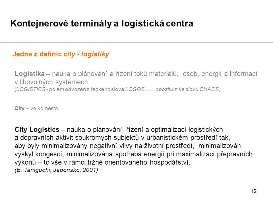 12 Jedna z definic city - logistiky Logistika – nauka o plánování a řízení toků materiálů, osob, energií a informací v libovolných systémech (LOGISTIC