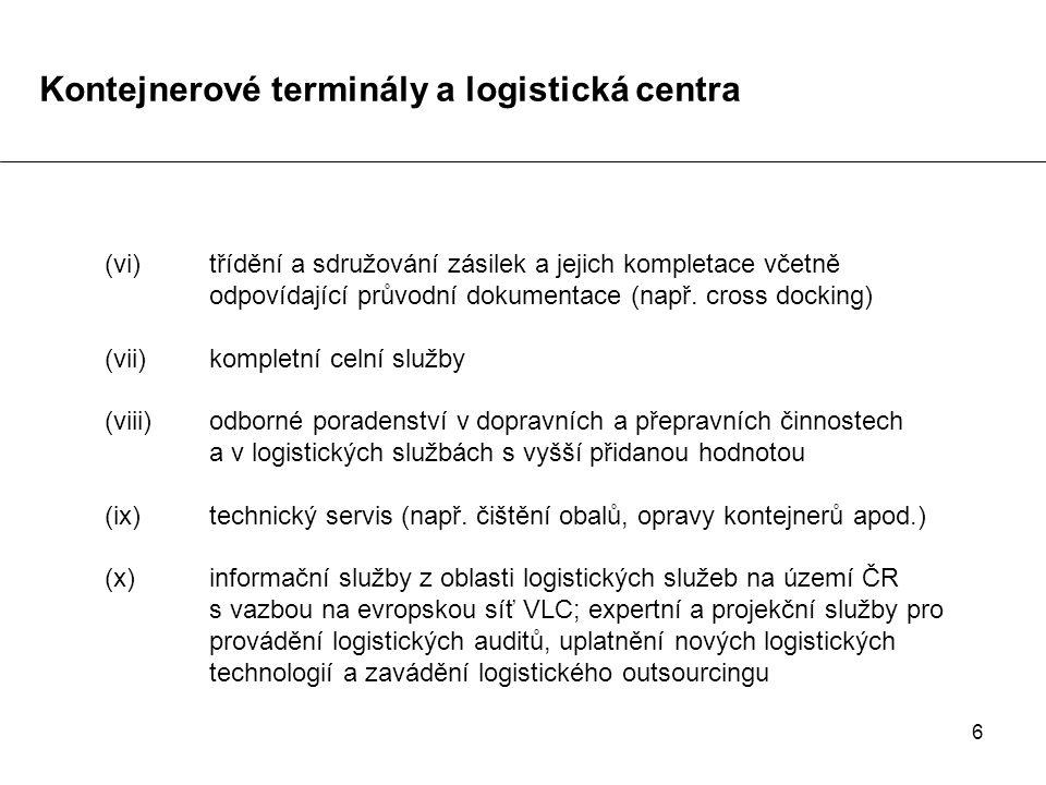 6 (vi)třídění a sdružování zásilek a jejich kompletace včetně odpovídající průvodní dokumentace (např. cross docking) (vii)kompletní celní služby (vii