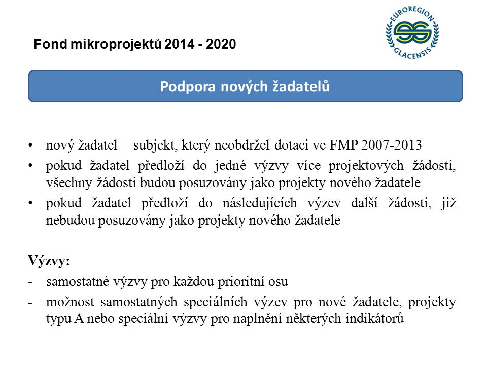 Podpora nových žadatelů nový žadatel = subjekt, který neobdržel dotaci ve FMP 2007-2013 pokud žadatel předloží do jedné výzvy více projektových žádostí, všechny žádosti budou posuzovány jako projekty nového žadatele pokud žadatel předloží do následujících výzev další žádosti, již nebudou posuzovány jako projekty nového žadatele Výzvy: -samostatné výzvy pro každou prioritní osu -možnost samostatných speciálních výzev pro nové žadatele, projekty typu A nebo speciální výzvy pro naplnění některých indikátorů Fond mikroprojektů 2014 - 2020