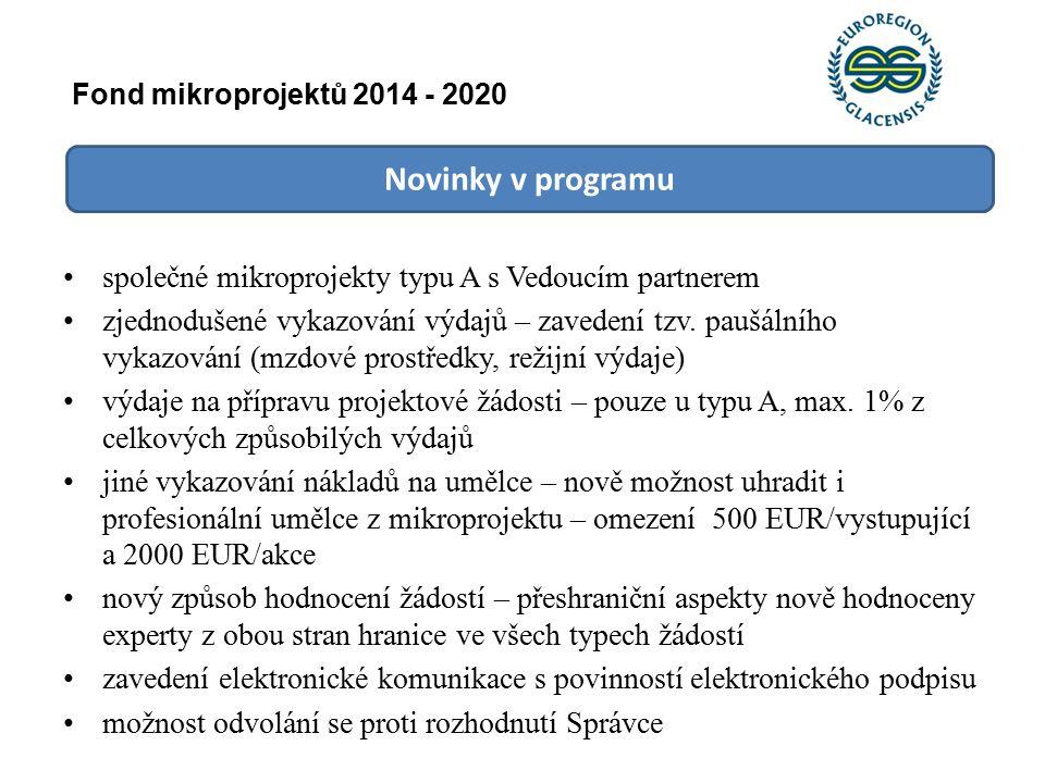 Novinky v programu společné mikroprojekty typu A s Vedoucím partnerem zjednodušené vykazování výdajů – zavedení tzv.