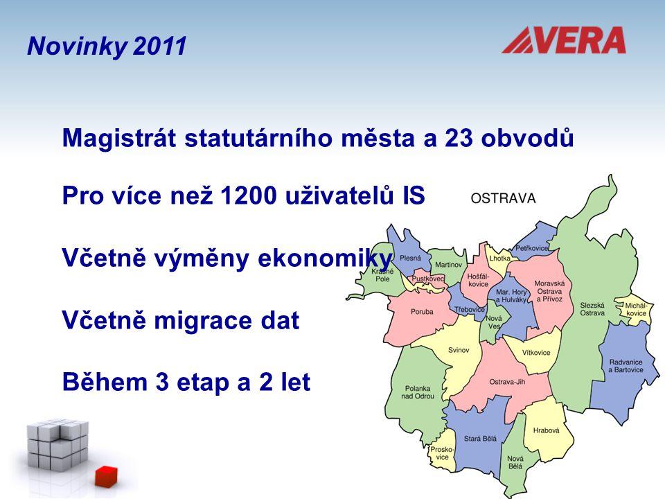 Magistrát statutárního města a 23 obvodů Pro více než 1200 uživatelů IS Včetně výměny ekonomiky Včetně migrace dat Během 3 etap a 2 let Novinky 2011