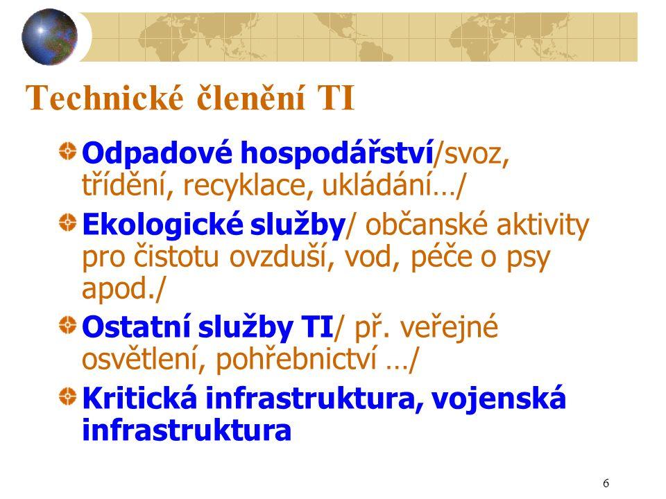 7 Ekonomické členění TI Hospodařící zpravidla se ziskem: nákladní doprava, dálková osobní doprava, telekomunikace, energetika Hospodařící zpravidla vyrovnaně: odpadové hospodářství, pohřebnictví, vodárenství … Hospodařící zpravidla se ztrátou – nutná dotace z veřejných rozpočtů: MHD, veřejná hromadná doprava (Integrované dopravní systémy-IDS), veřejná zeleň, v ČR železniční osobní doprava, veřejné osvětlení, vojenská technická infrastruktura