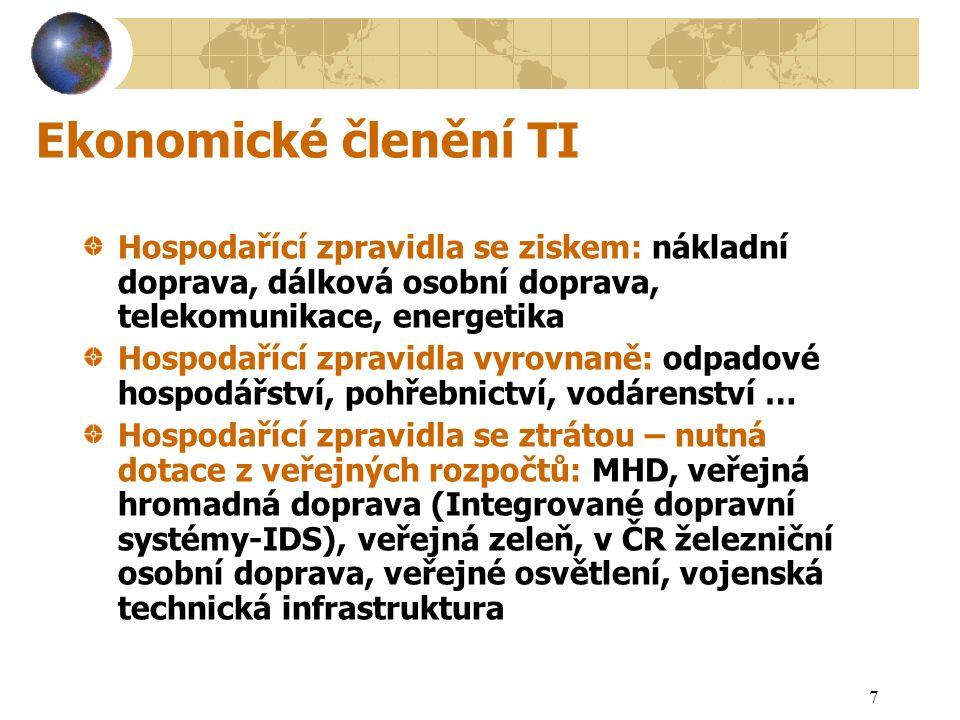 8 Prostorové členění TI (příklady)  Nadnárodní – globální  Vnitrostátní  Regionální - krajské  Místní – lokální  Připojení – technický detail