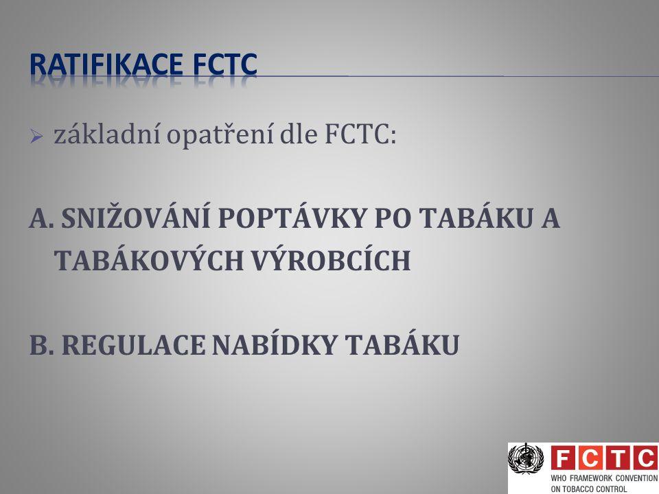  základní opatření dle FCTC: A. SNIŽOVÁNÍ POPTÁVKY PO TABÁKU A TABÁKOVÝCH VÝROBCÍCH B. REGULACE NABÍDKY TABÁKU