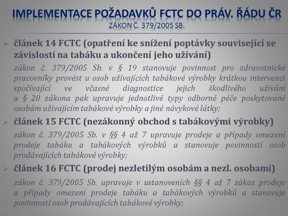 článek 14 FCTC (opatření ke snížení poptávky související se závislostí na tabáku a ukončení jeho užívání) zákon č.
