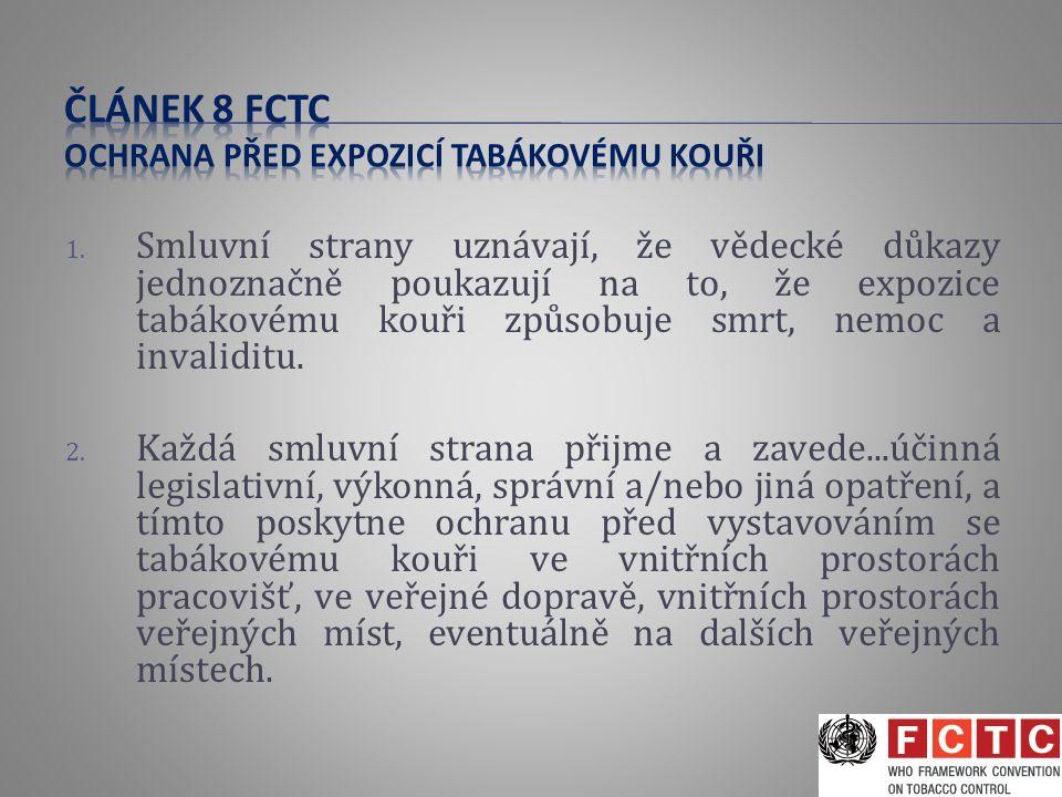 1. Smluvní strany uznávají, že vědecké důkazy jednoznačně poukazují na to, že expozice tabákovému kouři způsobuje smrt, nemoc a invaliditu. 2. Každá s
