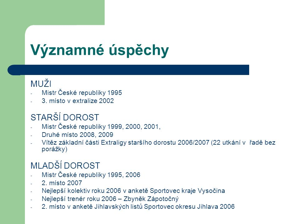 Významné úspěchy MUŽI - Mistr České republiky 1995 - 3.