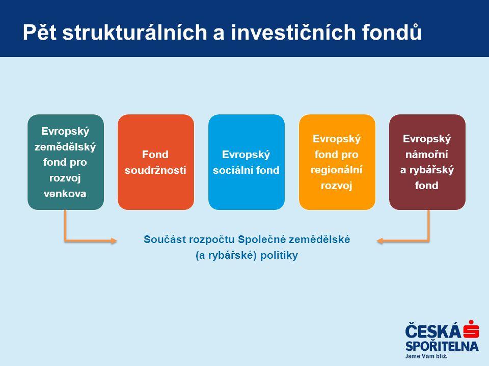 Pět strukturálních a investičních fondů Evropský zemědělský fond pro rozvoj venkova Evropský sociální fond Evropský fond pro regionální rozvoj Evropský námořní a rybářský fond Součást rozpočtu Společné zemědělské (a rybářské) politiky Fond soudržnosti