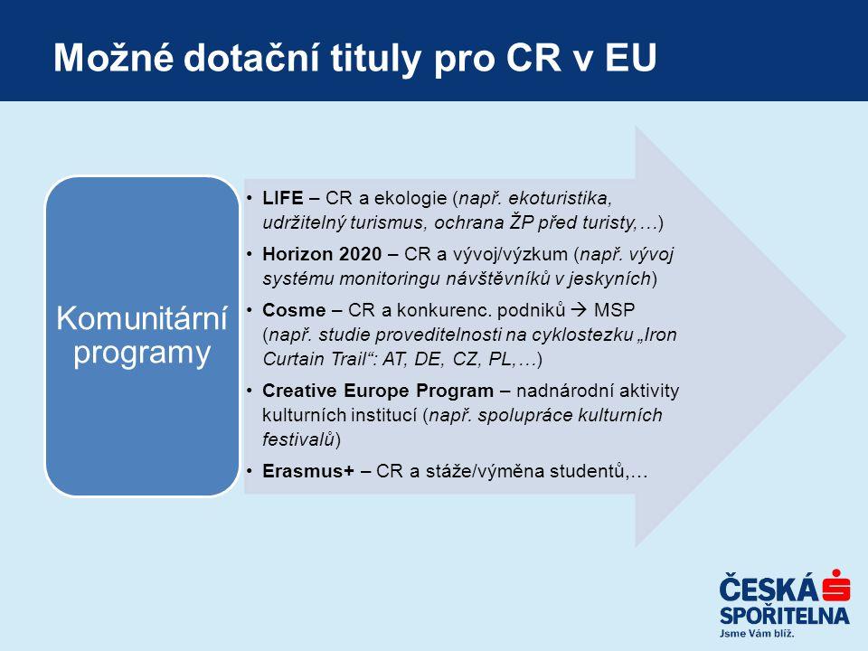 Možné dotační tituly pro CR v EU LIFE – CR a ekologie (např. ekoturistika, udržitelný turismus, ochrana ŽP před turisty,…) Horizon 2020 – CR a vývoj/v