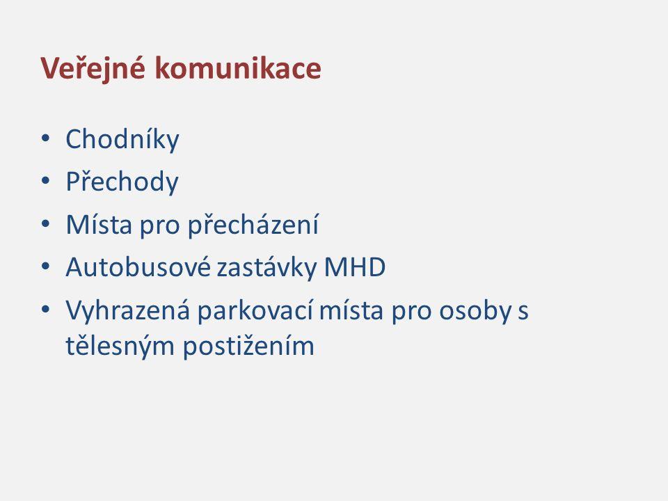 Veřejné komunikace Chodníky Přechody Místa pro přecházení Autobusové zastávky MHD Vyhrazená parkovací místa pro osoby s tělesným postižením