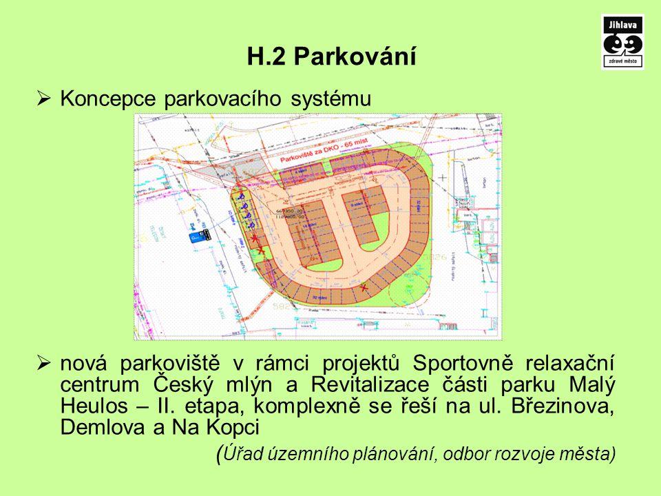 H.2 Parkování  Koncepce parkovacího systému  nová parkoviště v rámci projektů Sportovně relaxační centrum Český mlýn a Revitalizace části parku Malý Heulos – II.