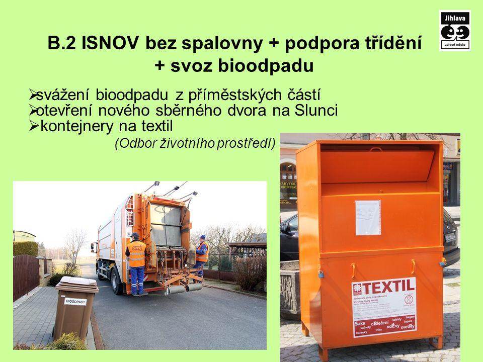 B.2 ISNOV bez spalovny + podpora třídění + svoz bioodpadu  svážení bioodpadu z příměstských částí  otevření nového sběrného dvora na Slunci  kontejnery na textil (Odbor životního prostředí)