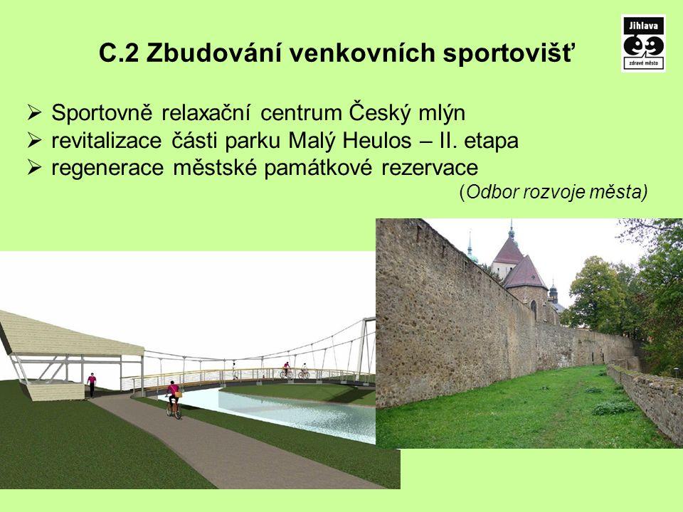 C.2 Zbudování venkovních sportovišť  Sportovně relaxační centrum Český mlýn  revitalizace části parku Malý Heulos – II.