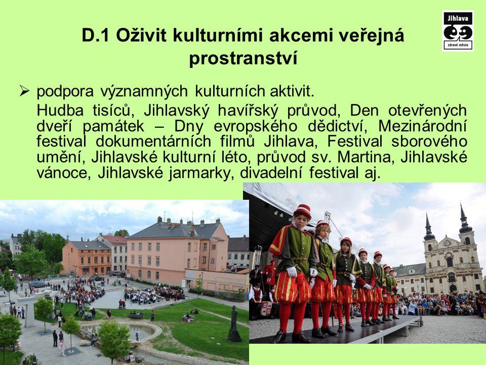 D.1 Oživit kulturními akcemi veřejná prostranství  podpora významných kulturních aktivit. Hudba tisíců, Jihlavský havířský průvod, Den otevřených dve
