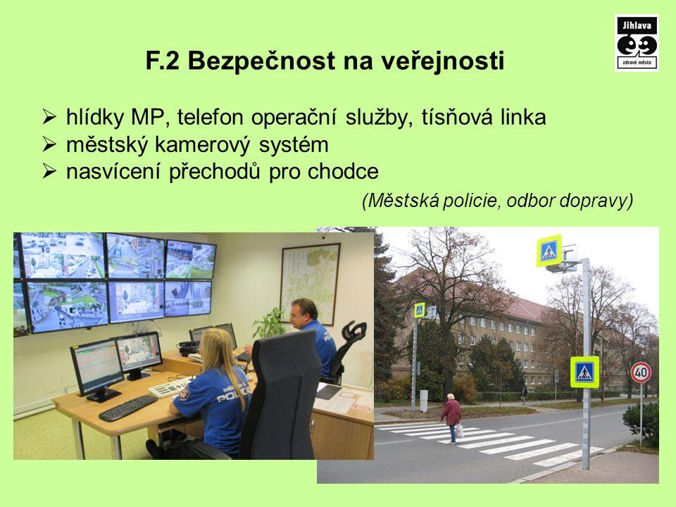  hlídky MP, telefon operační služby, tísňová linka  městský kamerový systém  nasvícení přechodů pro chodce (Městská policie, odbor dopravy) F.2 Bezpečnost na veřejnosti