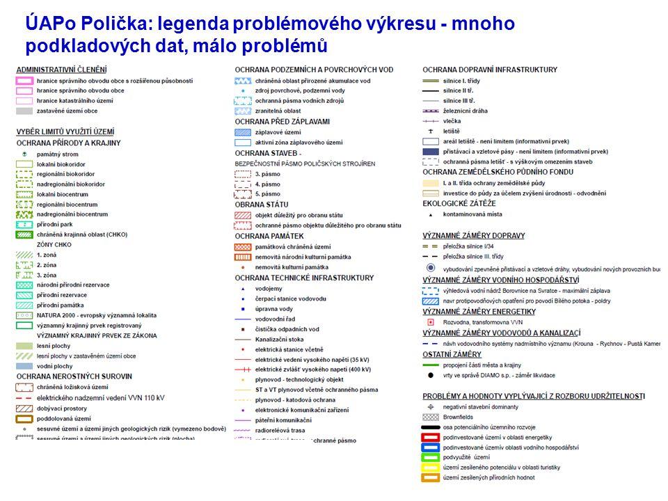 32 ÚAPo Polička: legenda problémového výkresu - mnoho podkladových dat, málo problémů