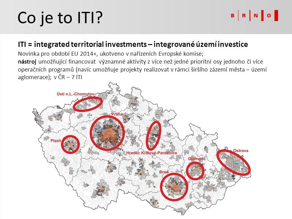 ITI = integrated territorial investments – integrované území investice Novinka pro období EU 2014+, ukotveno v nařízeních Evropské komise; nástroj umožňující financovat významné aktivity z více než jedné prioritní osy jednoho či více operačních programů (navíc umožňuje projekty realizovat v rámci širšího zázemí města – území aglomerace); v ČR – 7 ITI Co je to ITI
