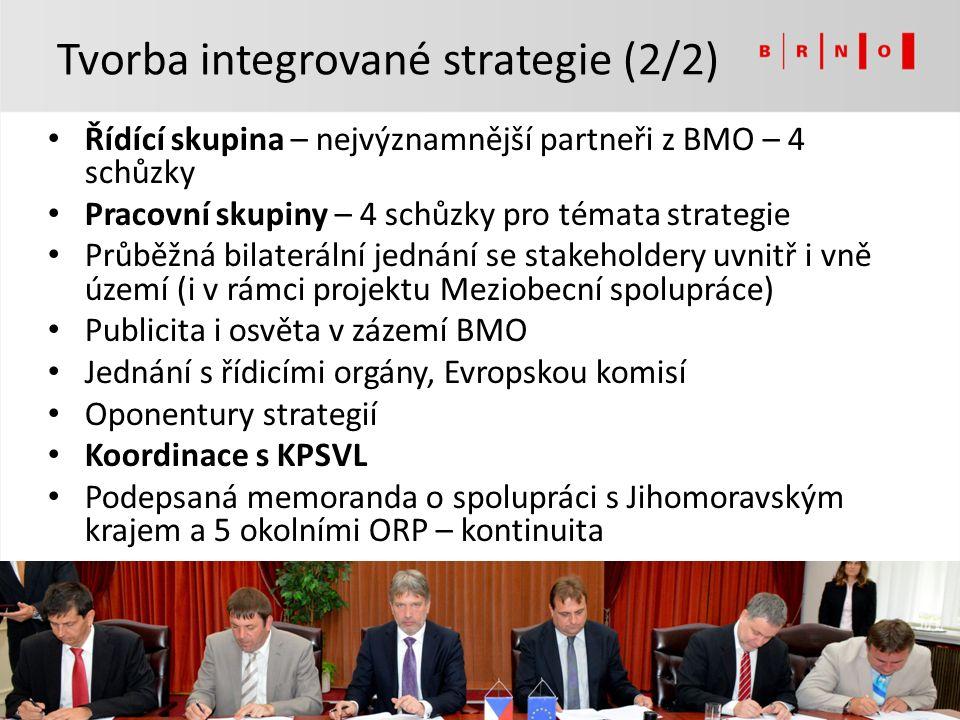 Řídící skupina – nejvýznamnější partneři z BMO – 4 schůzky Pracovní skupiny – 4 schůzky pro témata strategie Průběžná bilaterální jednání se stakeholdery uvnitř i vně území (i v rámci projektu Meziobecní spolupráce) Publicita i osvěta v zázemí BMO Jednání s řídicími orgány, Evropskou komisí Oponentury strategií Koordinace s KPSVL Podepsaná memoranda o spolupráci s Jihomoravským krajem a 5 okolními ORP – kontinuita Tvorba integrované strategie (2/2)