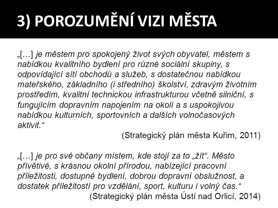 """3) POROZUMĚNÍ VIZI MĚSTA """"[…] je městem pro spokojený život svých obyvatel, městem s nabídkou kvalitního bydlení pro různé sociální skupiny, s odpovíd"""